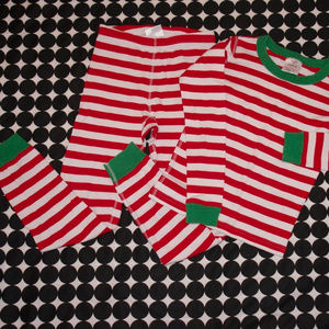 Hanna Andersson Red & White Striped Long Johns 140